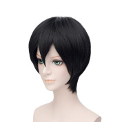 Ecloud ShopUS® Handsome Men's black short straight hair wig Cosplay for Party