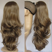 Liaohan® Claw on Brown Ponytail Hair Loose Wavy Ponytail Extensions Synthetic Pony Tail Medium Brown Hair Tail 50cm 150g