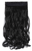 Mcoser 50cm Curly 3/4 Full Head Synthetic Hair Extensions Clip on/in Hairpieces 5 Clips 140g,Black