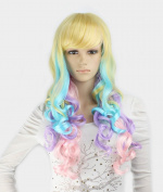 WY Blue Sky New Girl Women 70cm Multicolor Ombre Punk Long Big Curly Wave Layered Lolita Medium Size Side Swept Bangs Fringe Synthetic Cosplay Hair Wigs Glamour for Party +Free Wig Cap