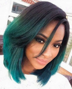 Sylvia Blue Ombre Long Straight Lace Front Synthetic Wig