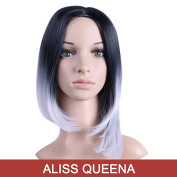 Alisss Queena(TM)Natural Black to Grey 2-tone Ombre Colour Short Synthetic Straight Hair WIG