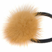 Natural Soft Mink Fur Fluffy Ball Pom Pom Scrunchie Ponytail Holder