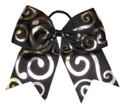 "New ""Silver Swirl BLACK"" Cheer Bow Pony Tail 7.6cm Ribbon Girls Hair Bows Cheerleading Dance Practise Football Games Competition Birthday"