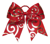 "New ""Silver Swirl RED"" Cheer Bow Pony Tail 7.6cm Ribbon Girls Hair Bows Cheerleading Dance Practise Football Games Competition Birthday Christmas"