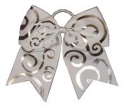 "New ""Silver Swirl WHITE"" Cheer Bow Pony Tail 7.6cm Ribbon Girls Hair Bows Cheerleading Dance Practise Football Games Competition Birthday"