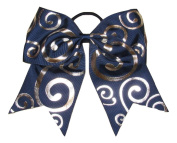 "New ""Silver Swirl NAVY BLUE"" Cheer Bow Pony Tail 7.6cm Ribbon Girls Hair Bows Cheerleading Dance Practise Football Games Competition Birthday"