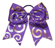 "New ""Silver Swirl PURPLE"" Cheer Bow Pony Tail 7.6cm Ribbon Girls Hair Bows Cheerleading Dance Practise Football Games Competition Birthday"