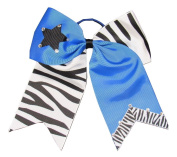 "New ""ZEBRA STAR Bling"" Cheer Bow Pony Tail 7.6cm Ribbon Girls Hair Bows Cheerleading Dance Practise Football Games Uniform Competition"
