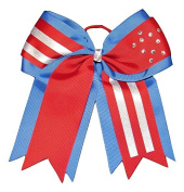 "NEW ""PATRIOTIC Bling"" Cheer Bow Pony Tail 7.6cm Ribbon Girls Hair Bows Cheerleading Dance Practise Football Games Uniform Competition USA"