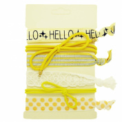 """Hair Ties Elastics Ouchless No Crease (Hello, Polka Dots, Bows, Stripe & Lace) - 6 Pack """"Yellow Lace"""""""