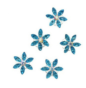 ThyWay Set of 10 Blue Crystal Flower Hair Coil Twister Spiral Pins Bridal Wedding Hair Accessory With Rhinestone Centre