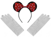 Black Red White Polka Minnie Mouse Disney Fancy Dress Ears Headband + Gloves Set