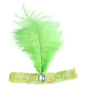 Weixinbuy Feather Headband Flapper Sequin Headpiece Costume Head Band Party