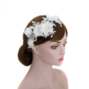 Bridal Organza Floral Detail Lace Forehead Headpiece,wedding Rhinestone Chain Hair Wrap Headband