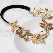Popfeel Lovely Gold Leaf Elegant Elastic Headband Hair Hoope Decoration for Wedding Party