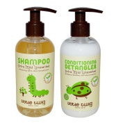 Little Twig All Natural Organic Unscented Hypoallergenic Baby Shampoo & Wash and Conditioning Detangler With Jojoba Essential Oil, Rosemary & Cucumber, Synthetic Fragrance Free, 250ml each