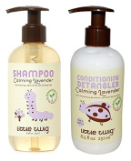 Little Twig All Natural Organic Calming Lavender Hypoallergenic Baby Shampoo & Wash and Conditioning Detangler With Tea Tree Essential Oil, Calendula & Lemon For Aromatherapy & Sleep, 250ml each