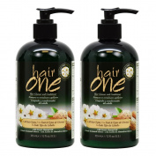 "Hair One Hair Cleanser and Conditioner for All Hair Types with Sweet Almond Oil 355ml / 12oz ""Pack of 5.1cm"