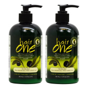 "Hair One Hair Cleanser and Conditioner for Dry Hair with Olive Oil 355ml / 12oz ""Pack of 5.1cm"