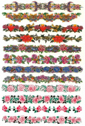 Floral, Roses, Hearts and Dagger Temporary Tattoo Bands / Pack of 12