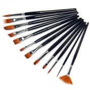 Susenstone®12pcs Nylon Hair Paint Brush Set Artist Watercolour Oil Painting Supplies