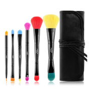 MSQ 6 Piece Double Sided Travel Brush Set with Pouch Synthetic and Natural Hair