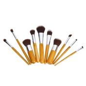 Sunko 10 pcs bamboo handle brushes makeup brush sets