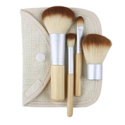 4 Pcs. Earth-Friendly Bamboo Elaborate Makeup Brush Sets Cosmetic Brushes Tool Set