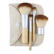 4 Pcs. Earth-Friendly Bamboo Elaborate Makeup Brush Sets Cosmetic Brushes Tool Set