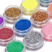 Aexge Professional 12 Mix Colour Nail Art Shimmer Dust Glitter Powder DIY Decoration Uv Acrylic Gel Tips