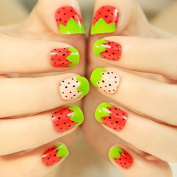 24pcs Very Short Pre Designed Girl Love Green Pink Red Straw Berry Z091