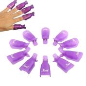 iMeshbean® 10PC Plastic Acrylic Nail Art Soak Off Cap Clip UV Gel Polish Remover Wrap Tool -Purple Colour USA