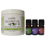 Natural Brio Organic Unscented Coconut Oil for Skin and Hair Care, 16 fl. oz with 3 Essential Oil Bottles (Lavender, Peppermint, Lemongrass), 5 ml Each