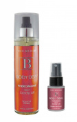 Body Boudoir Body Dew Pheromone After Bath Silky Body Oil Mist Moisturising Tropical Tease 240ml + 30ml Make Me Brush Travel Size