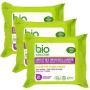 Bio Secure 100% Organic Cotton Make-Up Remover Wipes for All Face Types With Aloe Vera and Oil of Argan - 3 x 25 Cotton Wipes - Total 75 Wipes