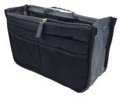 LEFV™ Handbag Organiser Liner Insert 13 Compartments Nylon Comestic Gadget Purse Multi-function Travel Makeup Pouch Organiser Tidy Pocket Double Zipper Case Toiletry Bag Black