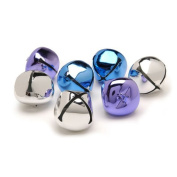 8 Silver, Blue & Purple 35mm Jingle Bells for Crafts | Craft Bells