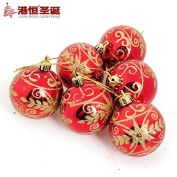 decorated tree Christmas balls hang 6cm light red colour hot stamping coloured drawing or pattern (6) 55g styrofoam crafts