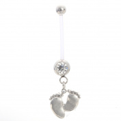 Astage Women`s Pregnancy Flexible Belly Button Ring Or Glitters Piercings White