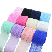 XUKE 4.1cm by 1M Flower Lace Bow Hair Accessories Hairpin Ribbons Sent of 12 Colours