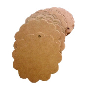 100pcs Scalloped Blank Brown Kraft Paper Wedding Clothing/ Luggage/ Garment Tag Gift Wrap Tags