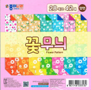 Jong Ie Nara Premium Craft Paper Flower Pattern Collection, 15cm Square, 28 Colours (Double-sided), 42 Sheets, 60gsm
