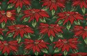 Hoffman 'Enchanted Winter' Poinsettias on Green Christmas Cotton Fabric