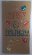 Chrismas Printed Lunch Paper Party Sacks Rustic 'Merry & Bright' with Blue and Red Ornaments on Brown Paper