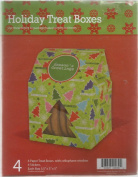 Paper Holiday Treat Boxes with Cellophane Window - Seasons Greetings