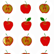 White Gift Wrap with Red Metallic Gold Apples