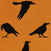 Halloween Gift Wrap - Black Crows on Orange Wrapping Paper