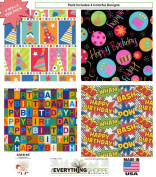 Birthday Gift Wrap Wrapping Paper for Boys, Girls, Kids & Adults too. 4 Different Fun Designs of 1.5m X 80cm Rolls / Pack Set Included! Medium Weight Paper. Wrap includes Party Hat Birthday Cake, Super Hero