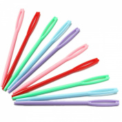 KINGSO 10PCS Plastic Multicolor Knitting Sewing Needles 7cm for Kids